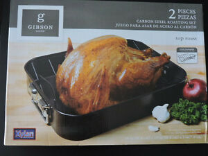 Roasting Pan carbon steel + roaster rack 2 pc set roast pan roaster oven chicken