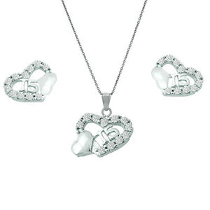 925 Sterling Silver Heart Cz Sweet 15 Quinceanera Earrings & Pendant Necklace