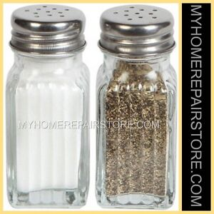 FREE S&H—COOKING CONCEPTS—FLUTED—GLASS—SALT&PEPPER SHAKERS—STAINLESS STEEL LIDS