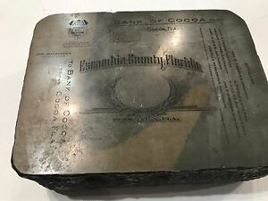 Lithograph Printing Stone 1900's Escambia County Florida Bank Of Cocoa  (T7)