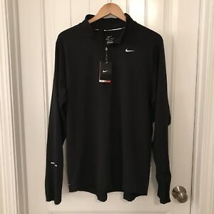 Nike Mens Dri Fit Element Long Sleeve Pullover Running Shirt Black Size XL
