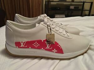Louis Vuitton x Supreme Red and White Sport Sneakers SZ 12