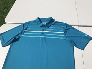 UNDER ARMOUR LOOSE HEAT GEAR SAWGRASS STRIPED POLO SHIRT DRY FIT XL SS EUC