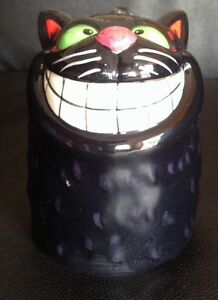 Porcelain Mug Or Cup With Upside Down Black Cat With Big Smile.