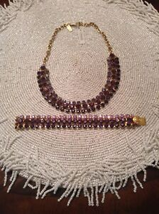 Coach Gold Plated Purple Necklace Crystal 3- Strand Bib And Matching Bracelet.