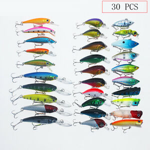 Top 30 Set Kinds of Fishing Lures Crankbait Minnow Poper Bass Baits Hooks Tackle