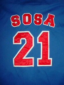Mens Womens Chicago Cubs Sammy Sosa 21-Jersey Blue Button Down Baseball-Shirt-L