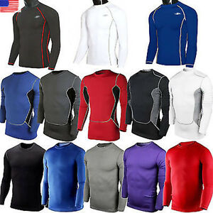 Mens T-Shirt Compression Under Base Layer Sports Long Sleeve Tops Running