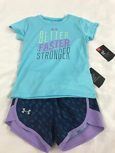 Under Armour Girl's Short Sleeve Shirt and Shorts Set Blue Purple Size 4T NEW