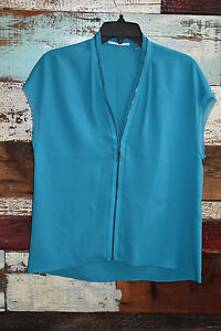 T Tahari Turquoise blue Sleeveless Career Work sleeveless Topzipper design XS