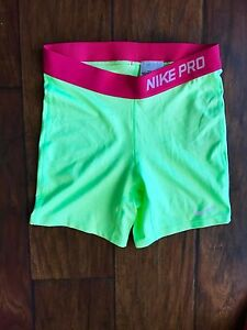 NIKE PRO Compression RunningYoga Shorts Yellow Pink Girls XL New w tags