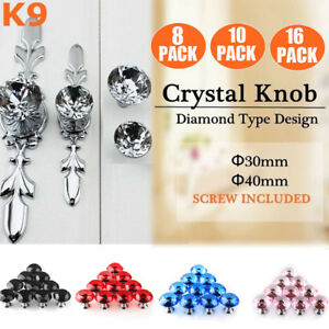 10x Crystal Glass Cabinet Wardrobe Drawer Cupboard Kitchen Pull Handle Knob 30mm