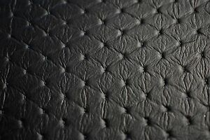 Black Embossed Diamond Stitch Faux Leather Fabric Vinyl Upholstery 54