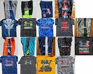 HUGE LOT ~ UNDER ARMOUR BOYS YOUTH SIZE 4 ~ SHORTS ~ TOPS ~ NWT ~ 18PC ~ $409