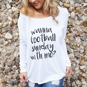 Women Lady Wanna Football Sunday With Me Tee Letters Loose Blouse T-Shirt Top