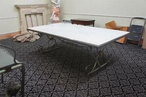 INCREDIBLE FRENCH VINTAGE IRON MARBLE TOP DINING ROOM TABLE - AG20
