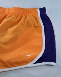 Nike Girl's Dri Fit Tempo Running Shorts Gold Purple White Trim Youth Size Large