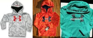 UNDER ARMOUR BOYS YOUTH SIZE 6 ~ 3 HOODIE SWEATSHIRTS ~ NEW ~ ORANGE GRAY GREEN