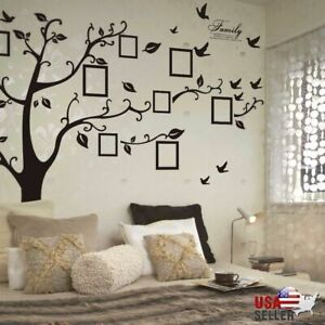 Large Removable Family Tree Wall Decal Sticker Vinyl Photo Pictures Frame Black