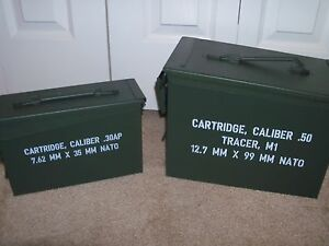 Heavy Duty Metal Ammo Boxes Set of 2 Steel Construction Dry Storage 2 Pack