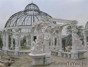 MONUMENTAL HAND CARVED VICTORIAN STYLE MARBLE GAZEBO