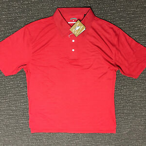 Golf Polo Shirt Red Men's Sport Polyester & Bamboo Blended Knit