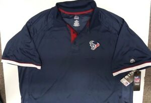 HOUSTON TEXANS TEAM NFL DRI FIT MENS  COOL BASE POLO SHIRT NEW 2X-6X