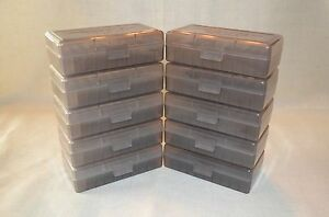 9mm  380  BERRY AMMO BOXES of 50 rnds of storage each box (10-Pack Smoke)