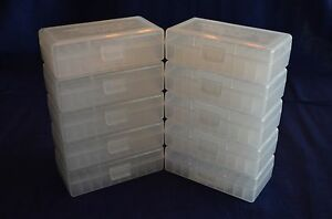 (10) 9mm  380 BERRY AMMO BOXES OF 50 rnds of storage each box (clear color)