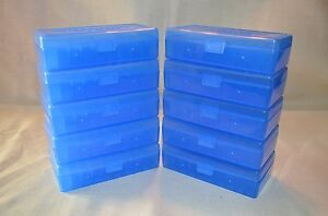 45 ACP  40 cal  10 mm NEW 50 RND PLASTIC AMMO BOXES (10-Pack BLUE)