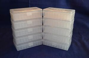 (10) 45 ACP  40 cal  10 mm NEW 50 RND PLASTIC AMMO BOXES (CLEAR)