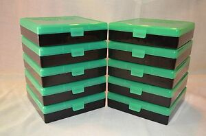 (10) 45 ACP  40  10 MM  100 ROUND PLASTIC AMMO BOXES (ZOMBIE GREEN)