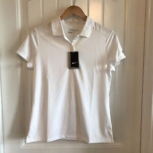 Nike Golf Womens Dri-Fit Victory Short Sleeve White Polo Shirt Sz Large