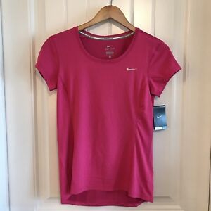 Nike Womens DRI-FIT Contour Short Sleeve Running Shirt Top Pink Size Small