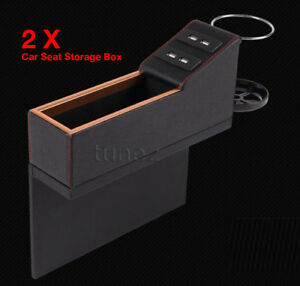 Car Accessory Seat Seam Storage Box Car Seat Organizer Cup Holder USB Ports