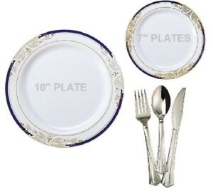 Tableware set wedding party disposable plastic plate silverware formal blue gold