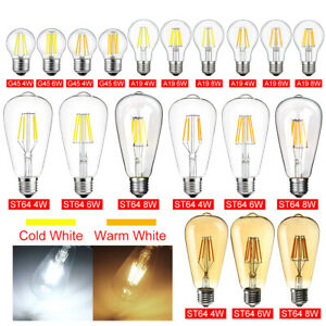 Vintage LED E26 4W 6W 8W Dimmable Edison CoB Filament Light Retro 110V Lamp