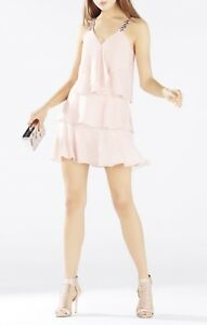 NEW BCBG MAX AZRIA LIGHT SHELL CARLOTTA RUFFLE HALTER DRESS IQI69D68M739W SZ 4