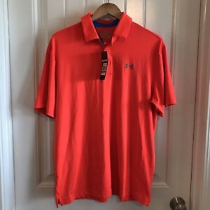 Under Armour Mens Golf Heatgear Short Sleeve Polo Shirt Orange Sz Large