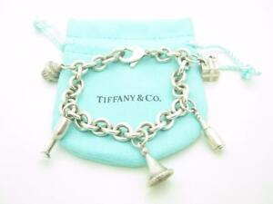 Tiffany & Co Sterling Silver Party 5 Charm Bracelet Gift Champagne Glass Cupcake