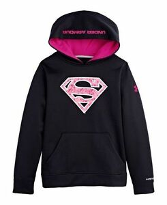 NWT Under Armour Youth Girls Superman Big Logo Hoodie Sz LG