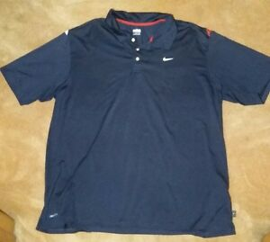 Men's NIKE Fit Dry Dark Blue Polo Shirt Red White Accents SIZE XXL Golf