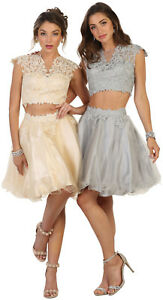 NEW 2 PIECE WINTER SEMI FORMAL SHORT GRADUATION HOMECOMING COCKTAIL PROM DRESSES