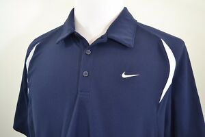 Nike Fit Dry XL Men's Golf Shirt Navy Blue w White accent Moisture Wicking Polo