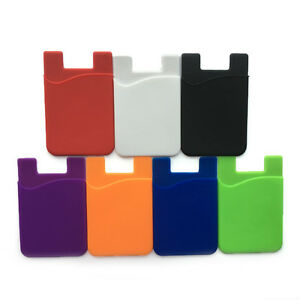 Silicone For iPhoneamp;Samsung Wallet Credit Card Cash Sticker Adhesive Holder Case