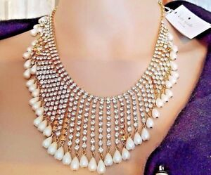 NWT$378 KATE SPADE Seaview Spray Bib Necklace Pearl Crystal Goldplate Bridal 18