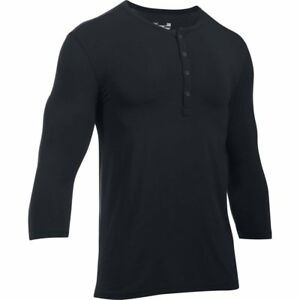 Under Armour Mens Athlete Recovery Henley Sleepwear BlackCarbon Heather Small