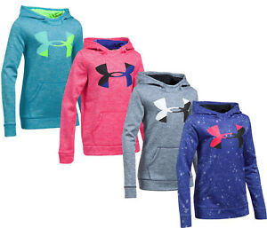 Girls Under Armour Hoodie Big Logo Novelty Sweatshirt NEW