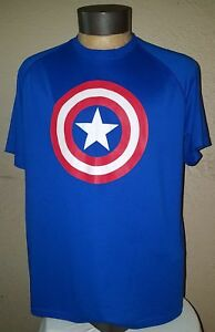 NEW Under Armour Marvel Caption America Logo Blue Dry Fit Shirt Mens Large (L)