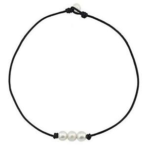 Pearl Leather Choker For Women Three Freshwater Pearl Black Necklace Handmade Ne